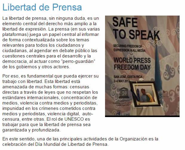 definicion libertad prensa unesco