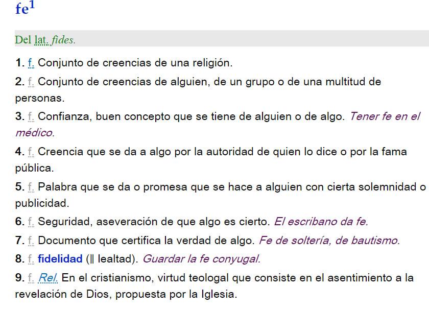 Definición de fe - RAE